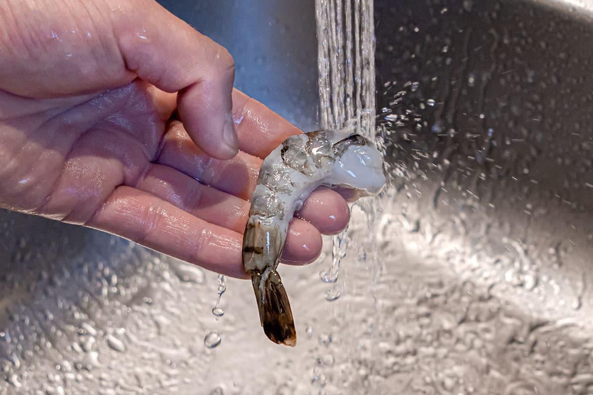 Garnele abwaschen