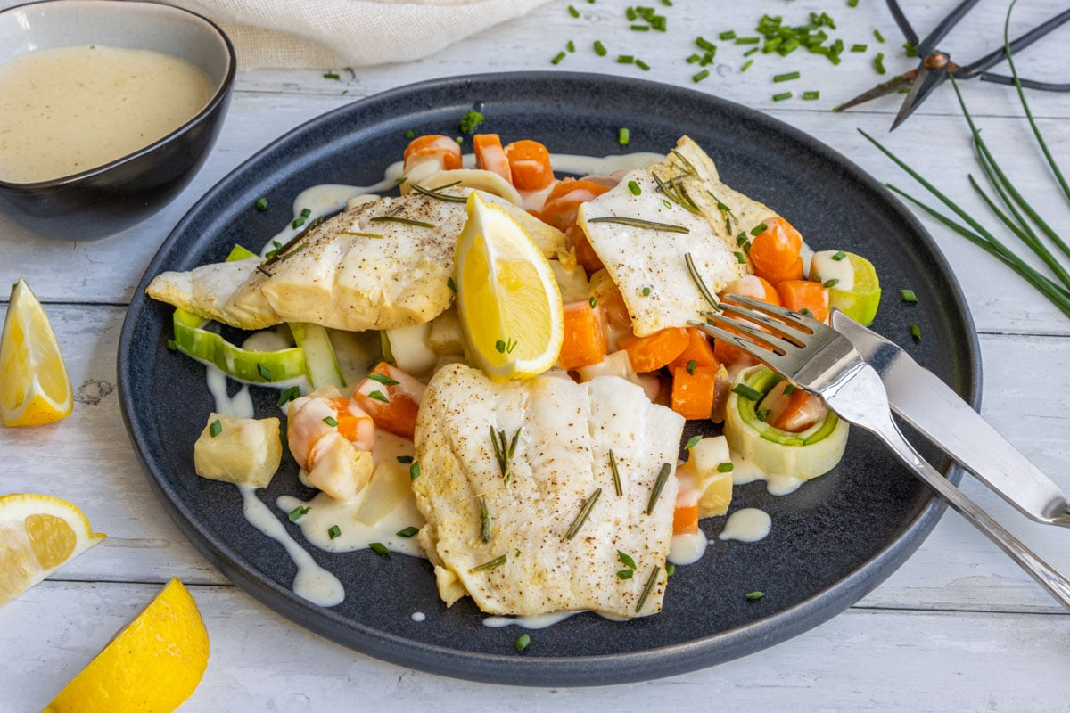 Kochfisch mit Senfsoße