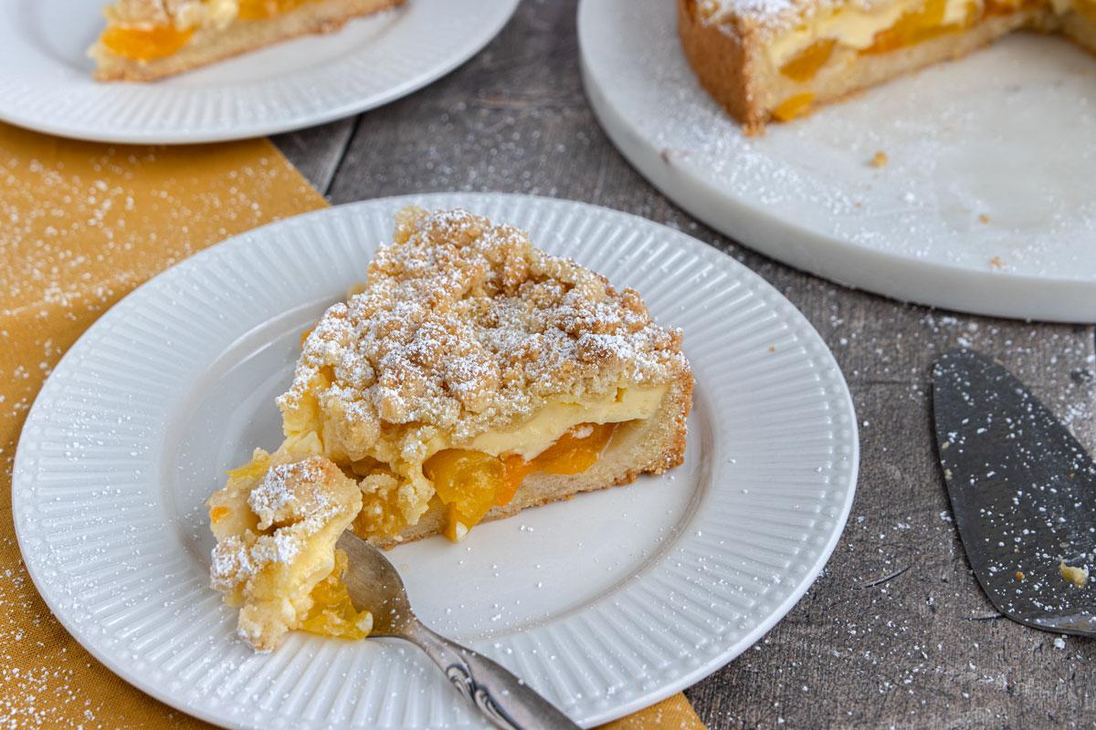 Aprikosenkuchen mit Pudding und Streuseln