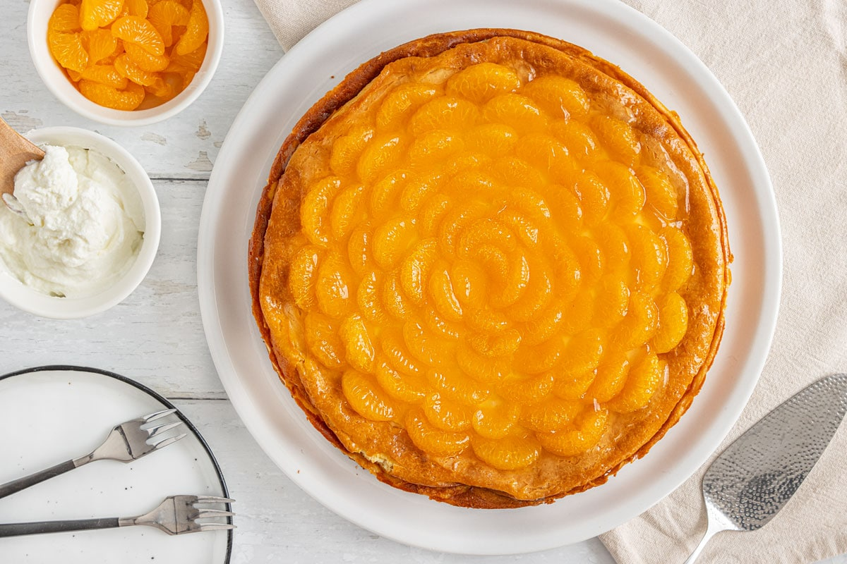 Käsekuchen ohne Boden mit Mandarinen