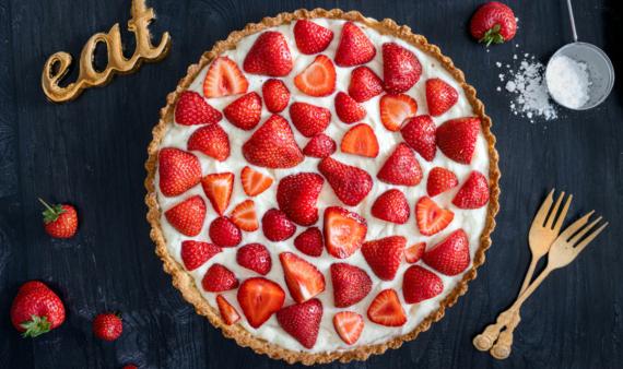Erdbeertarte mit Vanillefüllung