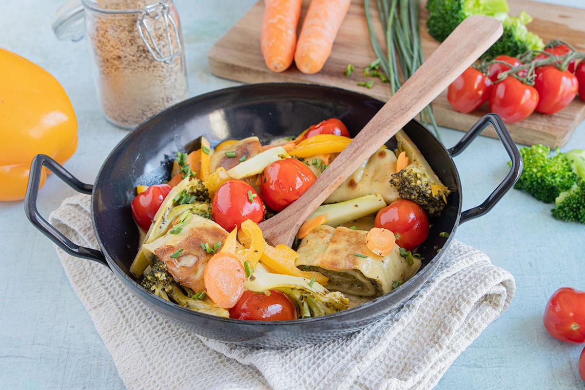 Maultaschen-Pfanne mit Gemüse