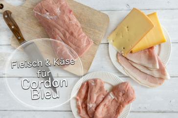 Fleisch und Käse für Cordon Bleu