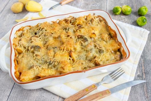 Veganer Rosenkohl-Kartoffel-Auflauf