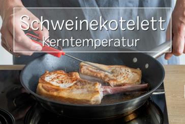 Kerntemperatur von Schweinekotelett messen