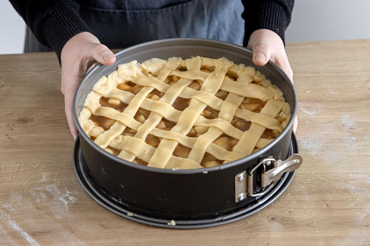 Apfelkuchen vegan mit Teiggitter